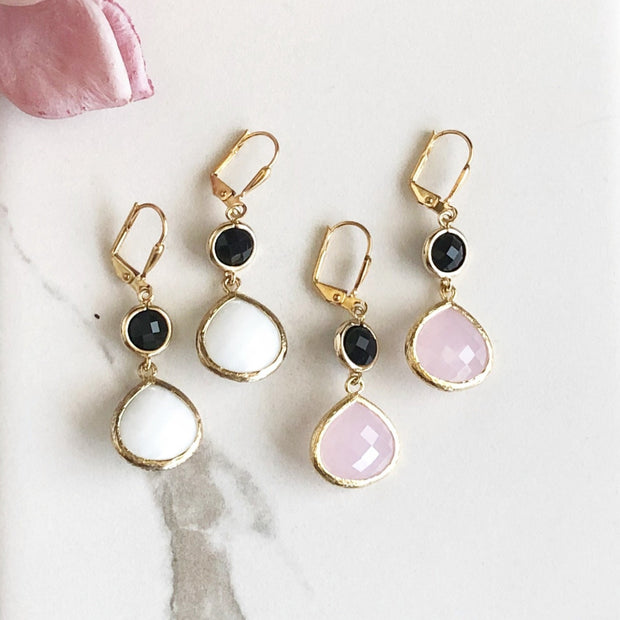 White and Black or Pink and Black Glass Drop Earrings in Gold. Bridal Earrings. (White)