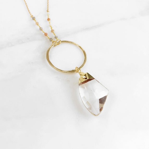 Long Crystal Necklace with Large Circle and Moonstone Beaded Chain in Gold. Long Boho Crystal Necklace.
