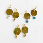 Circle and Oval Gemstone Drop Earrings in Gold. Geometric Dangle Earrings