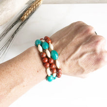 Load image into Gallery viewer, Set of Three Beaded Stretch Bracelets. Boho Beaded Bracelet. Teal Jade and Brown Goldstone Beaded Stacking Bracelet. Holiday Gift. Christmas