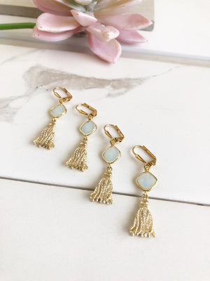 Gold Tassel and Mint Glass Stone Earrings. Fun Statement Earrings. Gold Earrings.