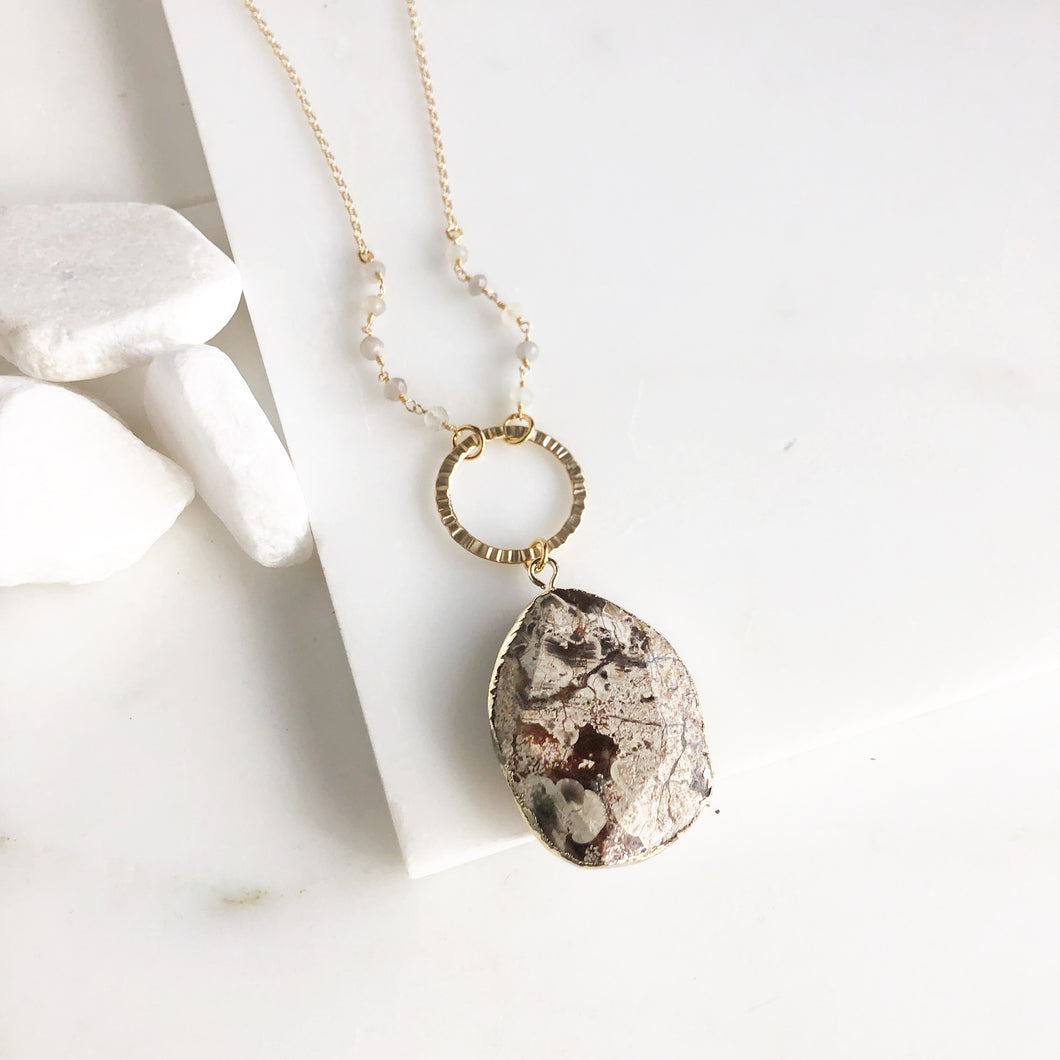 Long Stone Necklace in Gold with Neutral Tones. Long Boho Necklace. Bohemian Jewelry. Gift.