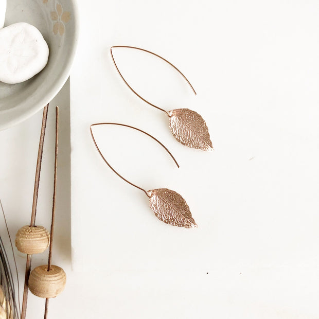 Rose Gold Leaf Earrings. Rose Gold Earrings. Earrings. Rose Gold Jewelry.