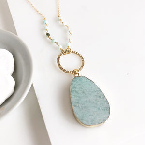 Long Amazonite Stone Necklace in Gold. Long Necklace. Pendant Necklace. Beaded Necklace. Boho Style