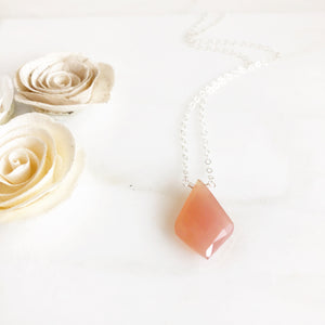 Peach Chalcedony Stone Pedant Necklace. Sterling Silver Stone Necklace. Silver Peach Necklace.