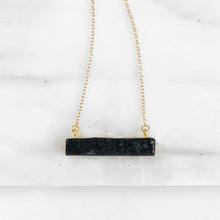 Load image into Gallery viewer, Black Druzy Bar Necklace in Gold. Black Druzy Necklace. Bar Necklace. Geometric Druzy Necklace. Layering Necklace. Druzy Jewelry. Gift.