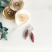Load image into Gallery viewer, Red Jade Marquise Stone Earrings in Silver.