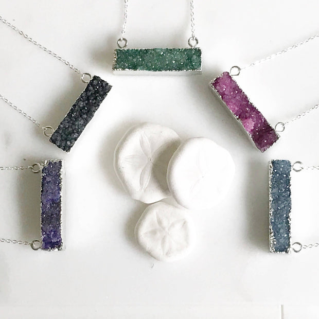 Druzy Bar Necklaces in Silver. Raw Crystal Druzy Bar Necklace. Drusy Jewelry. Bar Necklace.