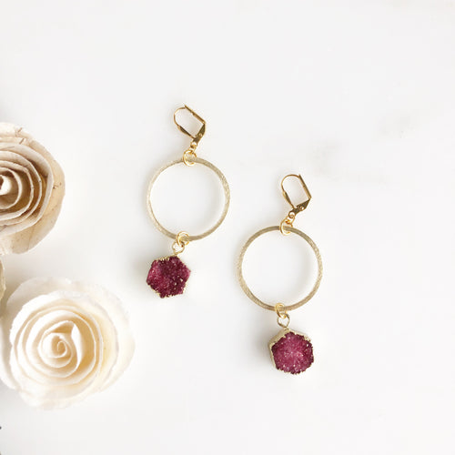Gold Circle Earrings with Brick Red Druzy Hexagon. Gold Hoop Earrings.