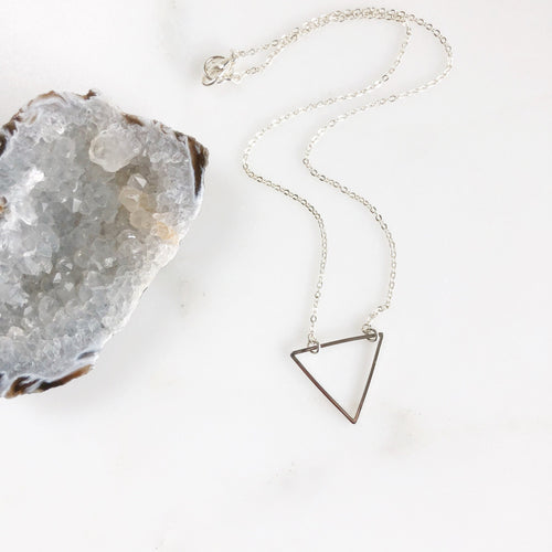 Triangle Layering Necklace in Silver. Charm Necklace. Silver Triangle Necklace. Medium Size Triangle Necklace. Jewelry Gift.
