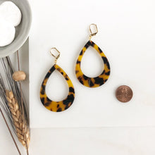 Load image into Gallery viewer, Large Teardrop Tortoise Open Teardrop Earrings. Large Teardrop Earrings Acrylic Statement Earrings.