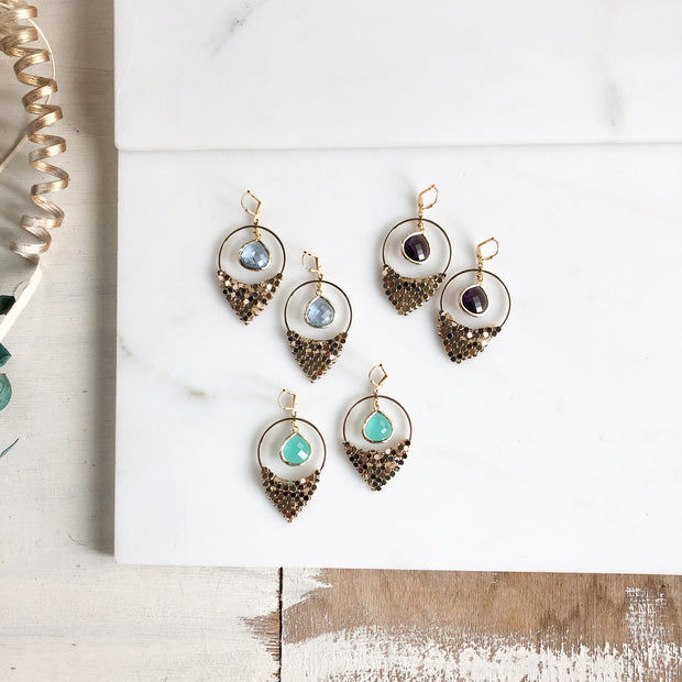 Amethyst Aqua and Sapphire Chandelier Earrings. Dangle Earrings. Statement Earrings.