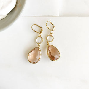 Bridesmaids Earrings. Bridesmaid Jewelry. Champagne Peach Gold Dangle Earrings. Wedding Jewelry. Wedding Earrings. Bridal Gift.