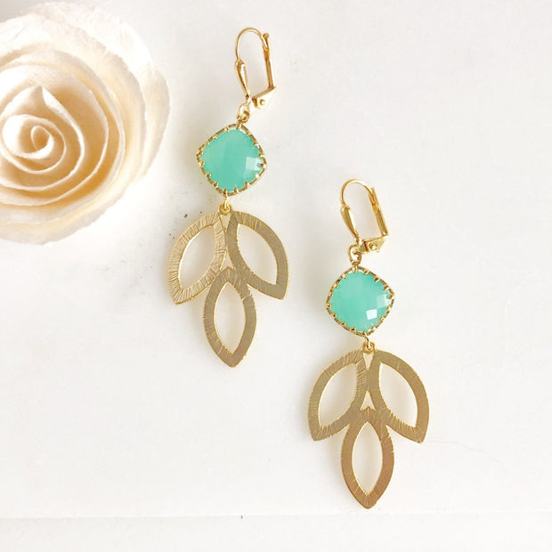 SALE Aqua Diamond and Marquise Leaf Drop Pendant Earrings. Gift for Her.