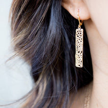 Load image into Gallery viewer, Small Rose Gold Rectangle Earrings. Drop Earrings. Dangle. Geometric. Simple Earrings.