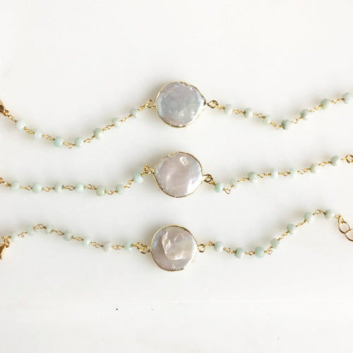Mother of Pearl Bracelet with Amazonite Stones. Wedding Bracelet. Wedding Jewelry.