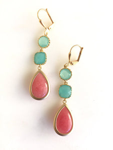 Coral Pink Turquoise and Aqua Dangle Earrings in Gold. Drop Earrings. Long Earrings. Bridal Party Jewelry. Bridesmaids Gift. Wedding Jewerly