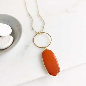 Coral Orange Pendant Necklace with Amazonite and Gold Beading