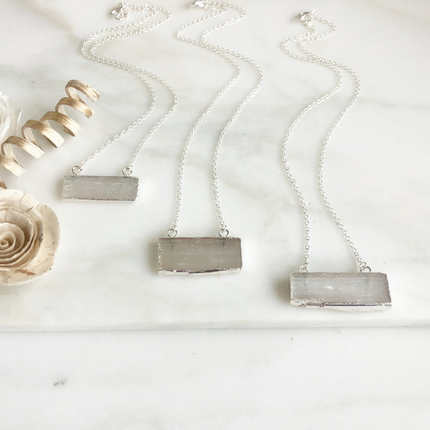 Selenite Bar Necklace in Silver. Crystal Healing Necklace
