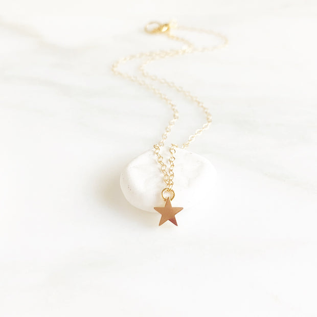 Dainty Gold Star Necklace in Gold. Small Solid Star Necklace in Gold