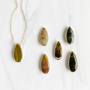 Long Jasper Teardrop Layering Necklace in Gold