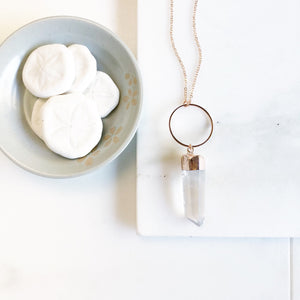 Long Rose Gold Crystal Pendant Necklace. Rose Gold Necklace with Crystal Stone. Long Rose Gold Bohemian Necklace. Rose Gold Necklace.