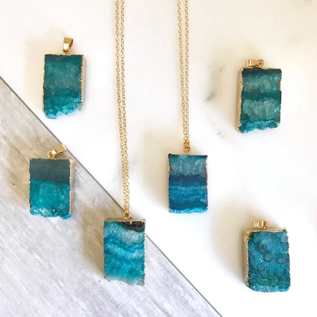 Blue Druzy Necklace. Crystal Geode Necklace. Druzy Jewelry. Stone Necklace. Teal Aqua Gold Necklace. Chunky Necklace. Gift.