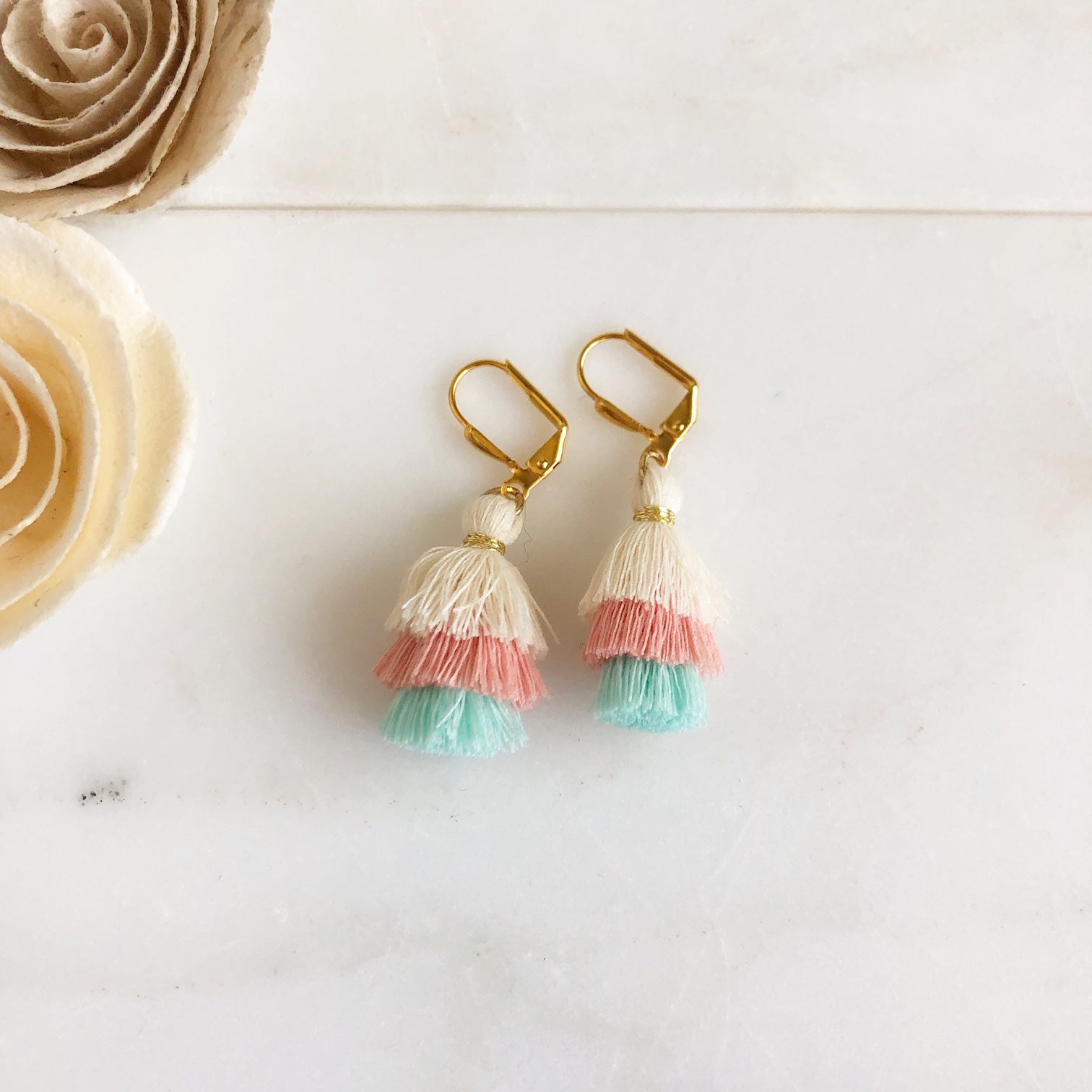 Cute Puffy Dangle Earrings in Pastel Pink Blue and Cream. Tassel Earrings. Sweet Jewelry Gift.