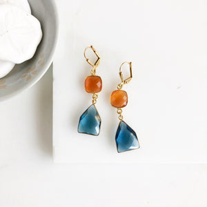 Blue and Orange Gemstone Earrings in Gold. Drops Earrings. Gift for Her.