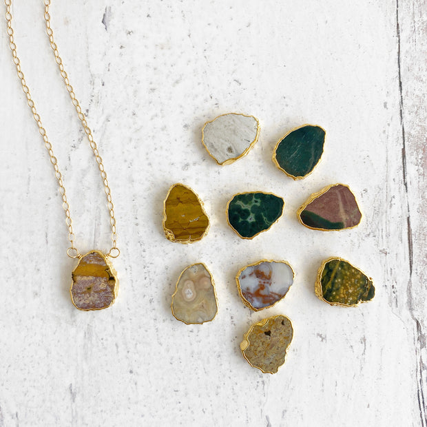 Ocean Jasper Gemstone Slice Necklace in Gold. Simple Dainty Gold Necklace with Crystal Gemstone. Unique Gemstone Necklace