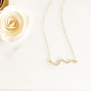 Textured Gold Zig-Zag Necklace. Unique Bar Necklace. Layering Jewelry.