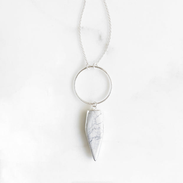 Long White Turquoise Stone Necklace in Sterling Silver. Long White Stone Necklace
