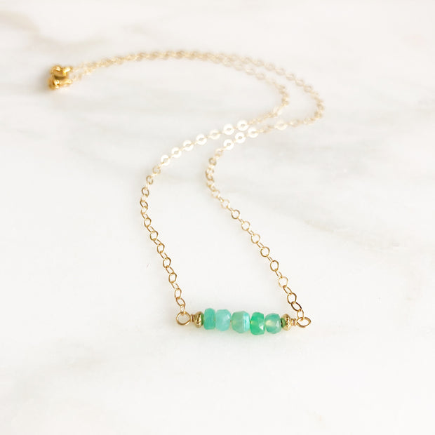 Chrysophrase Beaded Bar Necklace in Gold
