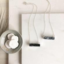Load image into Gallery viewer, Grey Druzy Bar Necklaces in Sterling Silver