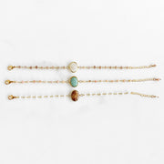 Oval Bezel Beaded Gemstone Bracelet. Dainty Gemstone Gold Chain Bracelet. Boho Chic Bracelet