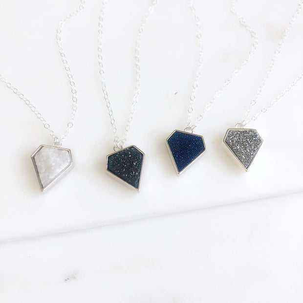 Blue Druzy Shield Necklace in Sterling Silver. Simple Modern Layering Jewelry