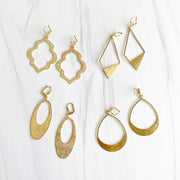 Geometric Brushed Brass Statement Earrings in Gold. Brass Gold Unique Shape Earrings