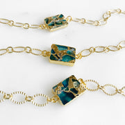 Teal Mojave Chain Bracelets in Gold. Unique Simple Gold Chain Bracelet