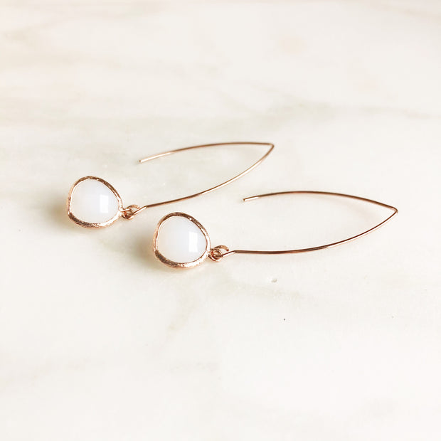 Opal White Drop Earrings in Rose Gold. Rose Gold Dangle Earrings