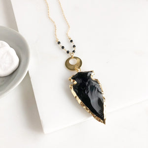 Black Stone Arrowhead Necklace in Gold. Long Black Arrowhead Necklace