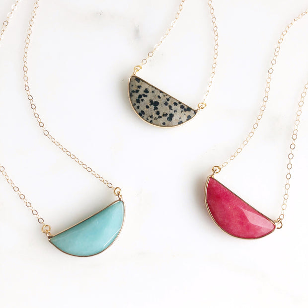 Gemstone Bezel Crescent Necklaces in Dalmation Jasper, Teal Agate, and Pink Chalcedony