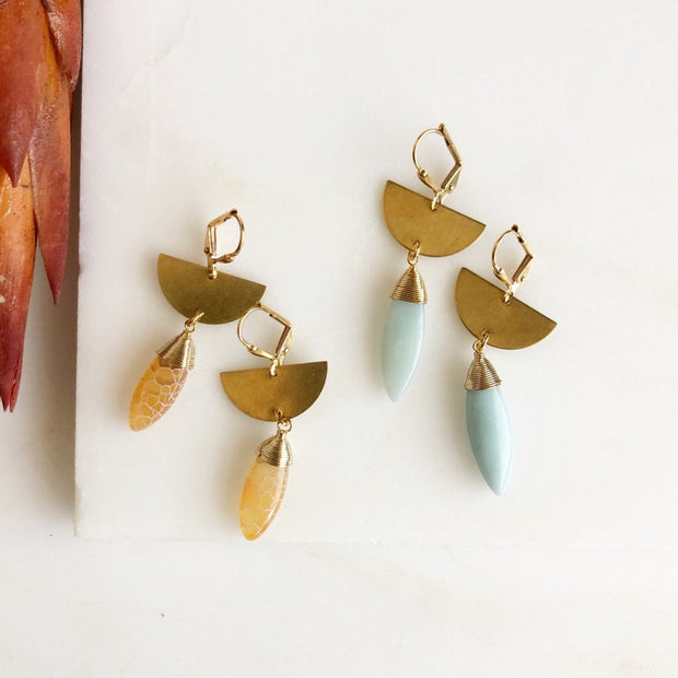 Gold Half Moon Drop Earrings. Gold Statement Earrings. Orange and Blue Earrings.
