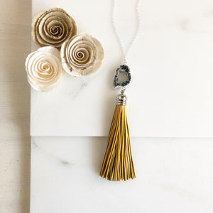 Mustard Yellow Tassel Necklace with Grey Geode Druzy. Sterling Silver Chain.