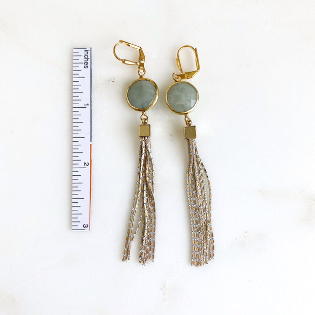 Aquamarine Bezel Tassel Earrings in Gold. Long Gemstone Tassel Earrings. Gold Tassel Earrings