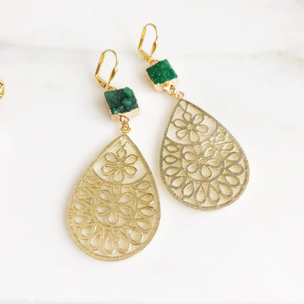 Gold Druzy Teardrop Statement Earrings. Red and Green Floral Dangle Earrings. Bold Modern Earrings.