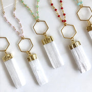 Long Boho Crystal Necklace in Red, Green, Pink, Blue and Gold. Selenite Stone Healing Necklace. Crystal Beaded Chain Bohemian Necklace