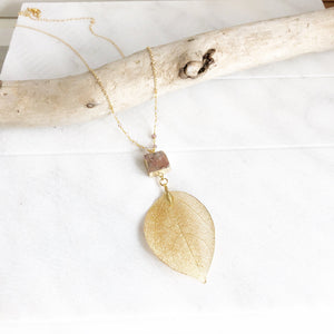 Long Gold Leaf and Brick Red Druzy Necklace with Moonstone Beaded Chain. Fall Colors Druzy Pendant Necklace. Druzy Necklace. Boho Necklace.