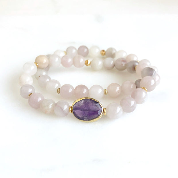 Set of 2 Stretchy Beaded Bracelets with Amethyst and Rose Quartz Beads