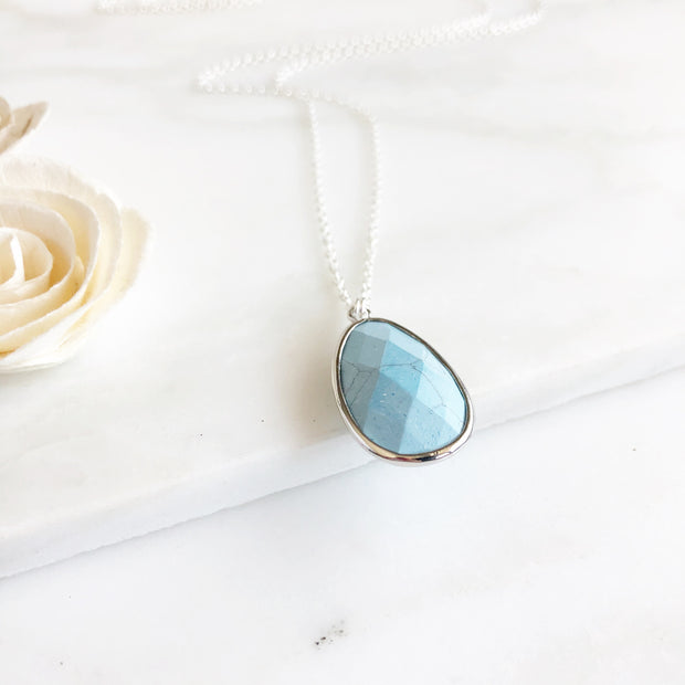 Long Turquoise Stone Necklace in Sterling Silver. Boho Jewel Stone Statement Necklace Gift