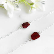 Silver Gemstone Slice Bracelet. Simple Dainty Red Garnet Stone Bracelet